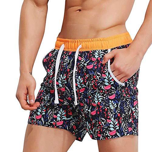 KPILP Herren Hipster Sommer Locker Atmungsaktiv Schwimmen Stämme Strandhosen Badeshort Bademode Kurze Hose Schlank Tragen Bikini Badeanzug Shorts(Rot 1,XL)