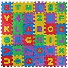 Meiqils Alfombra Infantil de Puzzle Goma EVA 36 Piezas Desmontables Manta de Puzzle de Espuma Gigante de Suelo Alfabeto y Números para Niños