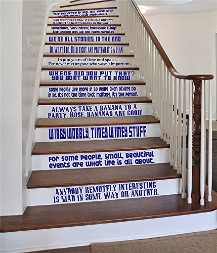 wandaufkleber 3d schlafzimmer DW Quote Set [BLUE] Large Vinyl Wall Stairs Decal by ONEliners Collection Dr Doctor Inspired Who Decor (Who Aufkleber Doctor)