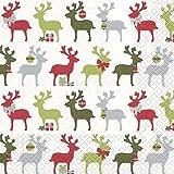20 Servietten Reindeer rot/grün – Elche rot/grün / Weihnachten / Rentiere / Muster 33x33cm