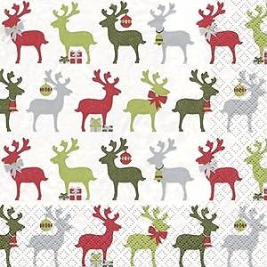 20 Servietten Reindeer rot/grün – Elche rot/grün / Weihnachten/Rentiere / Muster 33x33cm