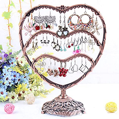 HQdeal Copper Color Heart-Shaped Earring Holder / Earring Oraganiser / Earring Stand / Earring