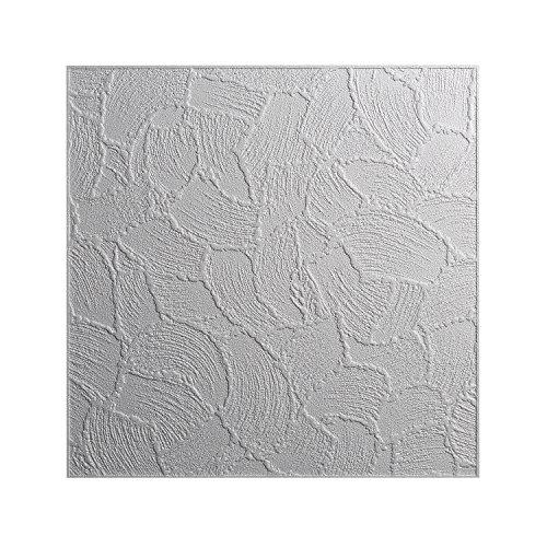 DECOSA Styropor Deckenplatten VALENCIA in Putz Optik - 16 Platten = 4 m2 - Deckenpaneele weiß - Dekor Paneele 50 x 50 cm - Decken Styroporpaneele (16 Deckenplatten)