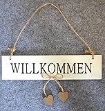 Türdeko Fensterdeko weiß creme Willkommen Tür-Hänger Kranz Schild Holz Shabby Landhaus Deko ca 25cm