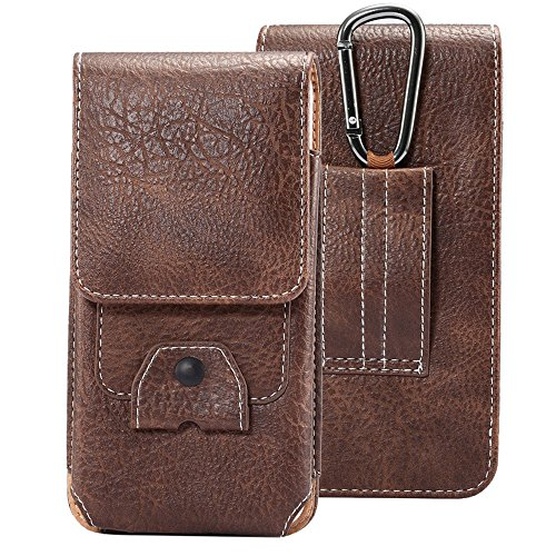 "DAYNEW 5.5-5.7"" de Hombre Funda de Piel Cinturón Bolso de Cintura Premium Funda Piel Mini Bolsa de Mensajero Hombro Bolsa para iPhone X /7 Plus/8 PLUS/6S Plus/6 Plus-Marrón"