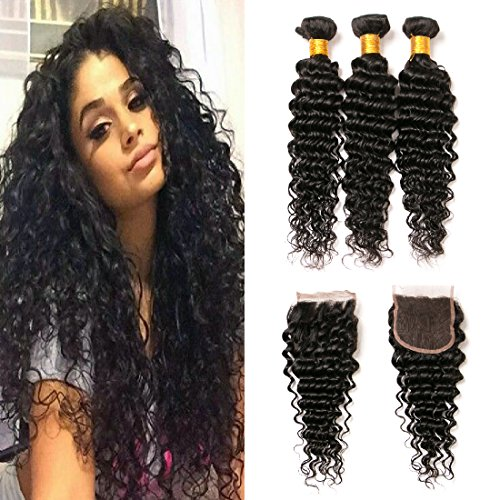 tissage bresilien curly lot 3 et closure frontal free part 10a grade real human hair extension cheveux naturel tissage(14 16 18+12)