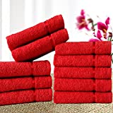 #5: Story@Home 450 GSM Set of 10 pcs 100% Cotton Face Towel (Red)