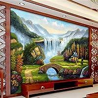 Lqwx Mural Papeles Personalizados Decoracion Cascada Puente Acuático Paisaje Foto Mural 3D Papel Tapiz Para Paredes 3 Rollo D-300Cmx210Cm