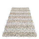 LivingArt24 Teppich WOLLI 200x120 Filzbälle Wollteppich Natur Handarbeit