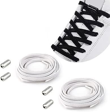 YuhooTech Lacci Elastici Delle Scarpe Lacci Senza Nodo No Tie Lacci Scarpe Stringhe Elastiche Lacci Elastici per Scarpe con Chiusura in Metallo per Scarpe da Ginnastica,Scarpe da Corsa,Scarpe Casual