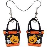 أقراط حقيبة يد من الأكريليك مكتوب عليها Happy Halloween Pumpkin من NEWEI عصرية وجميلة للنساء والفتيات هدية