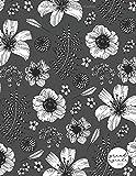 Grand agenda 2020: Agenda de Janvier 2020 à Décembre 2020, Semainier grand format 21x28cm, simple & graphique, idéal prise de rendez-vous, série noir & blanc, motif fleuri gris foncé