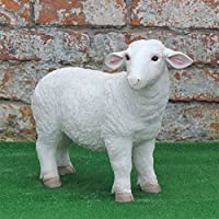 Best Value Here Resin White SHEEP Ram Lamb Animal Garden Planter Patio Ornament Sculptures Statue Two Types Standing Up/Laying Down (Standing Sheep)