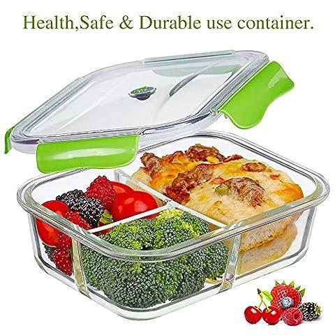 Frischhaltedosen Glas Lunchbox 100% bpa frei Luftdicht Auslaufsicher mit 3 fächern Ofen Mikrowellengeeignet sicher für Gefrierschrank und Spülmaschine (1,04 Liter, Rechteck, (Rechteck Glas)