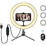 LED-ringlampa 10 tum med stativstativ och flexibel telefonhållare, skrivbord makeup selfie ringlampa med dimbara 3 ljuslägen