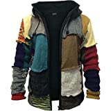 SHOPOHOLIC FASHION Mens Multicoloured Wool Patch Winter Hippie Hoodie Jacket