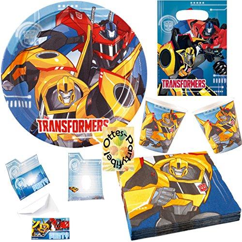 HHO Transformers RID Partyset 84tlg. für 16 Kinder Teller Becher Servietten Tüten Einladung (Transformers Dekorationen Party)