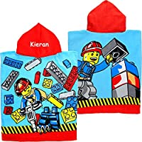 TeddyTs Personalised City Construction Super Soft Hooded Poncho Bath Towel