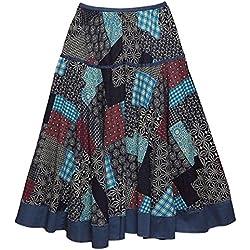 Feoya Étnico Falda Larga Casual Estampado Floral Bohemia Maxi Skirt para Verano Playa Viaje para Mujeres, Cuadros