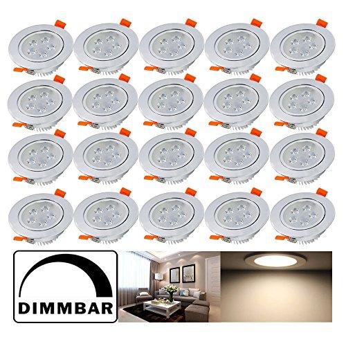 Hengda® 5W LED Einbauleuchten Dimmbar Einbauspots für Wohnraum decke Wohnzimmer bad Küche Rund Leuchte Lampen Warmweiß 2800-3200K, 20er Set