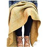 Herringbone pura lana virgen rodilla alfombra manta mostaza amarillo fabricado en Reino Unido