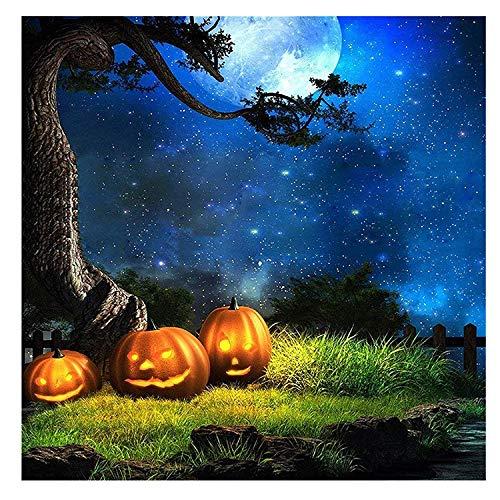 Kate 10x10ft Halloween Nacht Fotografie Kulissen Blauer Himmel Mond Hintergrund Foto Kürbis Hintergrund Booth (Halloween Kate Prinzessin)