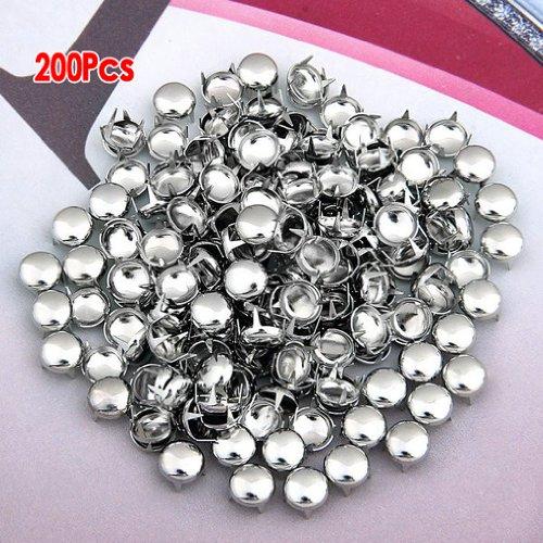 SODIAL(R) 200x Kupfer 8mm Silber Rundnieten Kegelnieten Nieten Punk Ziernieten Dekoration -