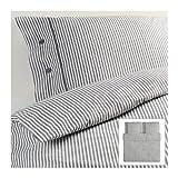 IKEA NYPONROS weiß grau Bettwäscheset 3 teilig 240x220cm und 2x 80x80cm Kopfkissen Bettbezug 100% Baumwolle
