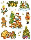 dpr. Fensterbild Set 14-tlg. Weihnachtsmotive Nussknacker Glocken Kerze Weihnachtsmann Sterne Fenstersticker Fensterdekoration Weihnachtsdekoration