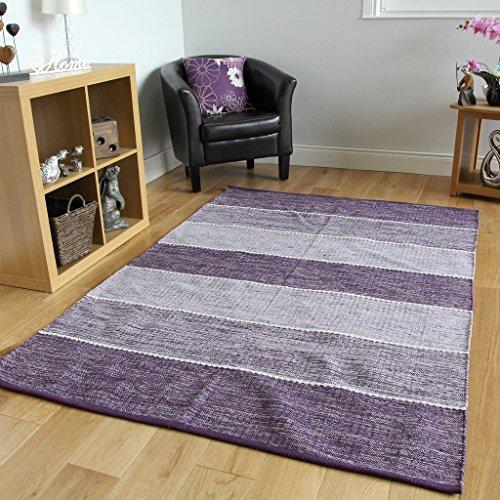Tappeti contemporanei in cotone tessuto, spessi e resistenti, motivo a righe, colore viola - Strokes (Cotone Tessuto Piano Tappeto)