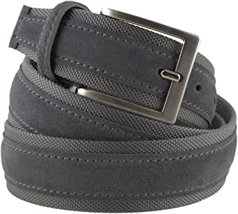 La Bottega del Calzolaio Cintura tela e camoscio uomo grigio scuro 4 cm in vera pelle artigianale made in Italy