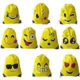 Voarge Emoji Gymtas voor kinderen, 10 stuks, voor kinderverjaardag, feestaccessoires, kerstcadeau, Halloween