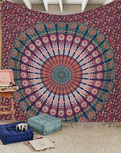 Raajsee arazzo mandala telo indiano cotone, hippy bohémien blu arancione arazzo da parete,teli copritutto arredo,dimensione matrimoniale 210x220cms,meditazione yoga , un regalo di Natale perfetto