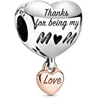 Pandora Breloque bicolore en forme de cœur avec cœur en alliage plaqué or rose 14 carats et argent sterling de la…