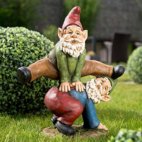 Royal Gardineer Gartenzwerg-Duo beim Bockspringen, handbemalt - 2