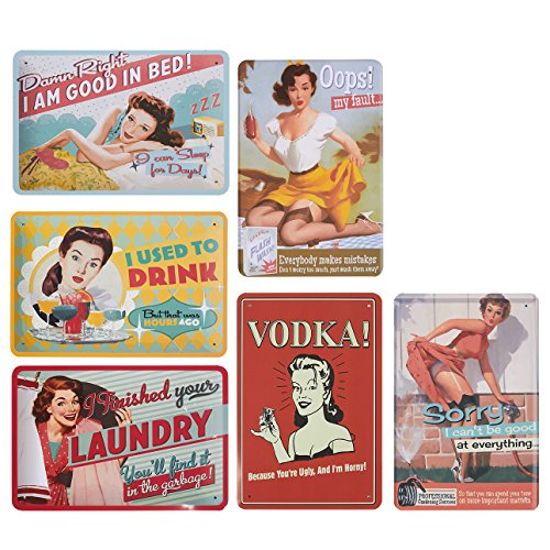 Juego 6 lata Signs – estilo vintage metal signs