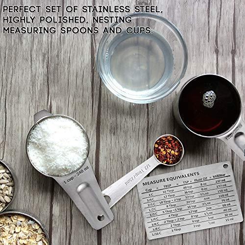 15 Stück Messlöffel, Messbecher Set - Premium Edelstahl - 6 Messbecher & 6 Messlöffel (Gravierten Markierungen) +2 D-Ringen, Magnet Umrechnungstabelle - Kochen Backen Küche, Weihnachtsgeschenk
