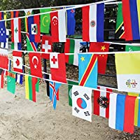 G2PLUS Intermational Flags Bunting, 25 M World Countries Banner with 100 Different National Flags 14CM * 21CM for Football Rugby Fans Presentation Event (100 National Flags)