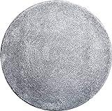 Grund Badteppich 32 mm 100% Polyacryl, ultra soft, rutschfest, ÖKO-TEX-zertifiziert, 5 Jahre Garantie, LEX, Badematte 80 cm rund, silber