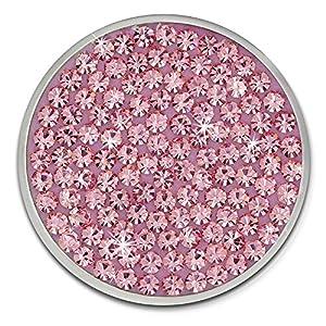 Amello Coin Edelstahl-Schmuck Coin mit Zirkoniaia rosa – Coin für Amello Coinsfassung für Damen – – 30 mm, Größe M Edelstahlschmuck Stainless Steel ESC301A