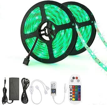Bluetooth LED Strip 5m RGB 5050 LED Streifen IP65 Wasserdicht Lichtband mit Musikalische Funktion TV Party 40 Tasten IR-Fernbedienung und App Kontroller Lichterkette Band f/ür Haus K/üche K/üche