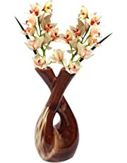Wauood Brown White Color Ceramic Two Sides Open Flower Vase, Pot for Office Home Hotel Shop and Gift for Friends and Family Ceramic Vase (8 inch, Multicolor)