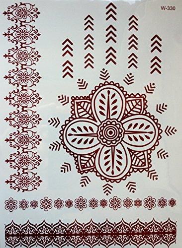 HENNA MANDALA MARRON Tatouages temporaires au henné Henna pour le corps w-330