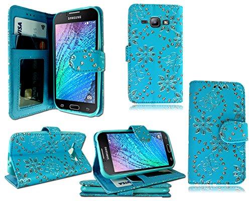 Nouvelle Pochette en cuir à rabat avec porte-cartes pour iPhone Samsung Galaxy J1sm-j100F + Film protecteur d'écran Blue Diamond Book Wallet