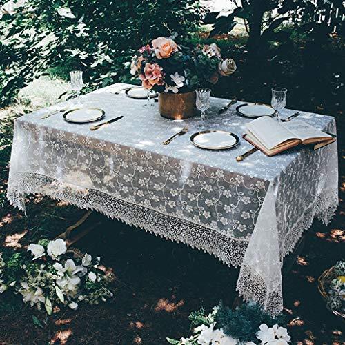 Blanc Dentelle Nappe Fil De Verre Rural Square Rectangle Table Cover Floral PatternsTablecover pour La Décoration Intérieure (taille : 150 * 210cm)