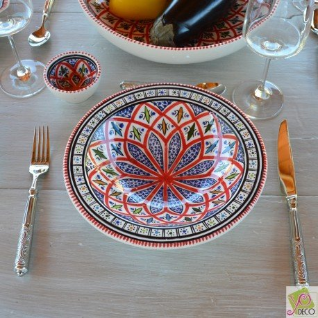 Lot de 6 assiettes Tebsi Bakir rouge - D 23 cm