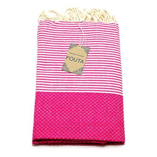 ANNA ANIQ Fouta Hamamtuch Saunatuch XXL Extra Groß 197 x 100cm - 100{cadceadd76d350a0139a1dfe52c8ca91950572285e472877e514fe055c37c33b} gekämmte Baumwolle aus Tunesien als Strandtuch, orientalisches Bade-Tuch, Yoga-Decke, Pestemal, Strand-Handtuch (Pink)