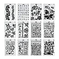 VEYLIN Painting Plasstic Stencil for Kids Scrapbooking DIY Card Crafts,24 Styles Theme Hollow Template
