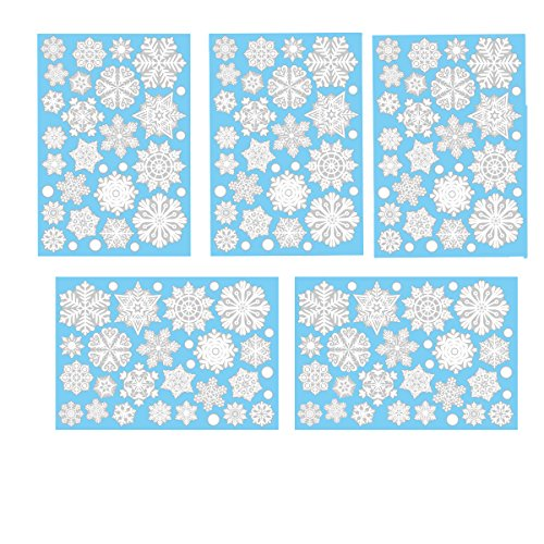 fensterbilder schneeflocken Aomon 110 Fensterdeko Schneeflocken Weihnachten Fensterbilder Schneeflocken mit 45 weißen Punkten-Statisch Haftende Aufkleber