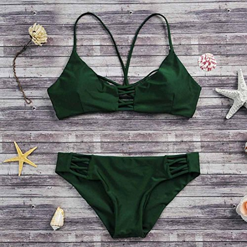 2017 Maillot de Bain, Xinan Femmes Swimwear Bikini Set Sexy Bandage Beachwear Vert